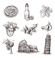 Hand drawn set of Italy vector image