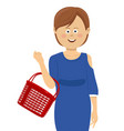 young woman with empty shopping basket vector image