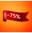 Red ribbon with inscription 75 percent discounts vector image
