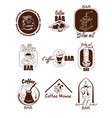 doodle coffee logos set vector image