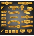 Discount retro ribbon golden set vector image