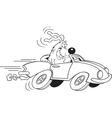 Cartoon dog driving a car vector image