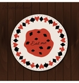 Cookie- drink coaster from Wonderland on Wooden vector image