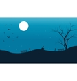 Silhouette of bat halloween and full moon vector image