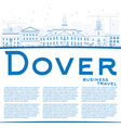 Outline Dover Skyline with Blue Buildings vector image