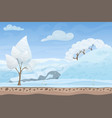 beautiful winter game style flat landscape vector image