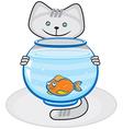 Grey cat and fish in the aquarium vector image