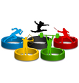 sportive silhouettes on colorful rings vector image