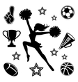 Young cheerleader with associated icons vector image