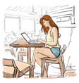 girl typing on laptop computer sketch young woman vector image