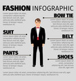 fashion infographic with man in suit vector image