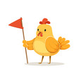 funny cartoon chick bird standing and holding red vector image vector image