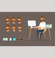 character design businessman working on desktop vector image vector image
