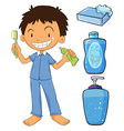 Boy in pajamas brushing teeth vector image