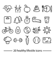healthy lifestile icons vector image
