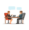 business conversation man and woman at the table vector image