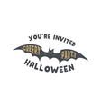 happy halloween badge vintage hand drawn logo vector image