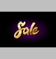 sale 3d gold golden text metal logo icon design vector image