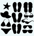 Summer women accessories and shells vector image