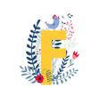 floral alphabet letter f vector image