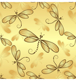 Seamless pattern with gold gradient dragonflies vector image vector image