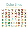 Color line design abstract icons collection vector image