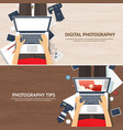 Photographer equipment on a table photography vector image