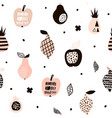 seamless pattern with creative modern fruits hand vector image
