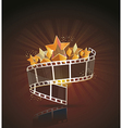 Film strip roll with gold stars cinema background vector image