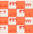seamless background with different bridges vector image