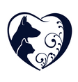 Dog Cat love heart vector image vector image