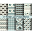 Collection of pixel retro seamless patterns vector image vector image
