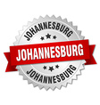 Johannesburg round silver badge with red ribbon vector image