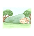 Beautiful watercolor landscape with country house vector image