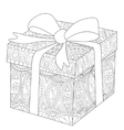 Gift box with bow coloring for adults vector image