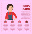 infographic with girl and farm animals vector image