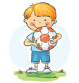 little boy with football ball vector image