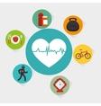 set fitness equipment icon vector image