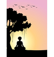 Silhouette man meditating under the tree vector image