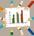 Team work on paper looking to chart bar progress vector image