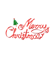 Christmas greetings red ribbon 3d lettering with C vector image