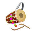 drum percussion instrument double-headed dhol and vector image vector image