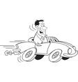 Cartoon man driving a car vector image