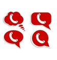 Phone on red word bubble speech vector image
