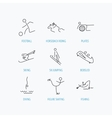 Pilates football and skiing icons Fishing vector image