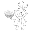 Baker with a basket of bread contour vector image
