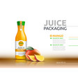 mango juice packaging realistic mock up vector image
