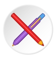 Pencil and pen icon cartoon style vector image