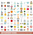 100 nursery icons set flat style vector image