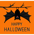 Happy Halloween card Cute bat hanging on tree Big vector image